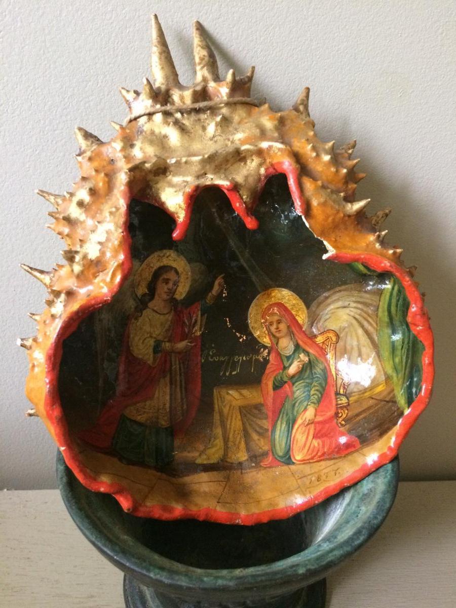 Icone Grecque Peinte Sur Une Carapace De Crabe 1877