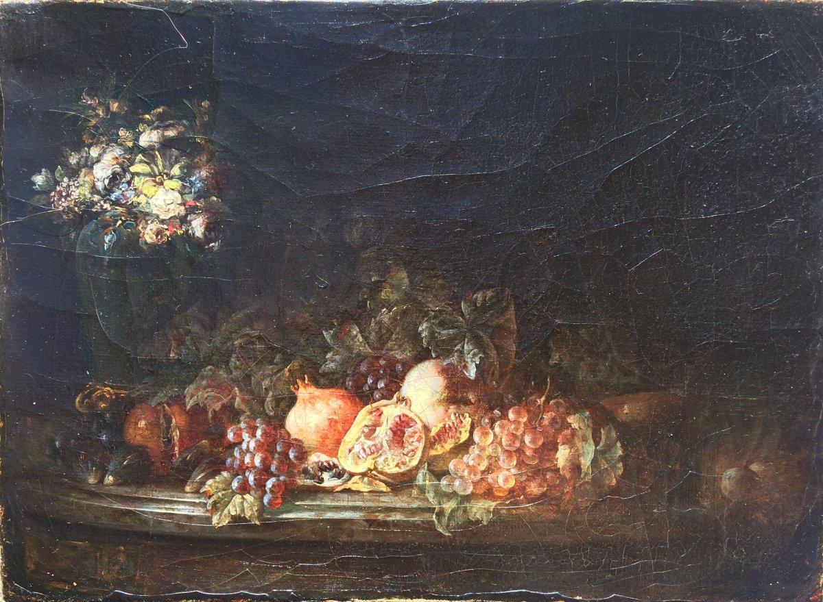 Petite Nature Morte XVII E , école Française Ou Napolitaine