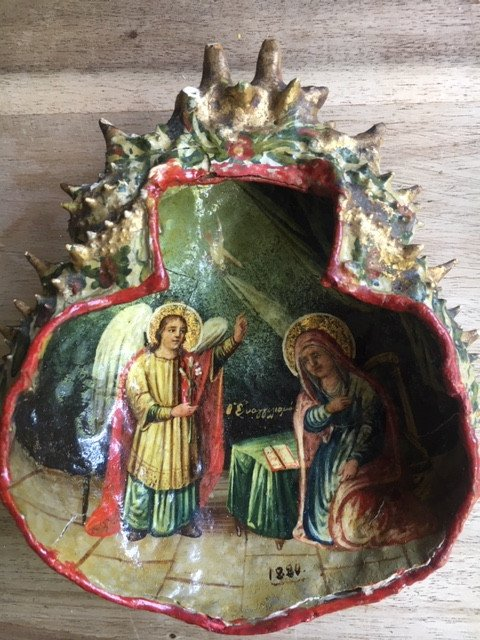 Greek Icon Painted On Crab Shell