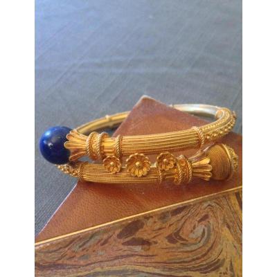 Bracelet Or Et Lapis De Style étrusque Vers 1870