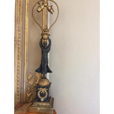 Empire Style Candelabra Mounted In Lamp End 19th Early 20th