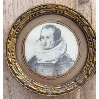 Deux Portraits Au Crayon Attribués à Poterlet
