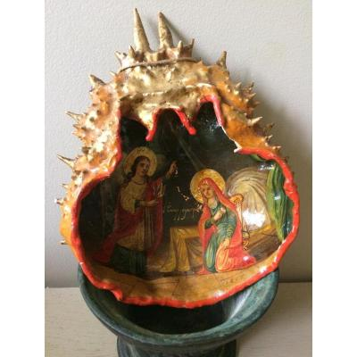 Greek Icon Painted On A Crab Carapace 1877