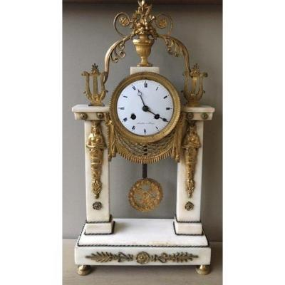 Marble And Gilt Bronze Mantel Clock Early 19th C