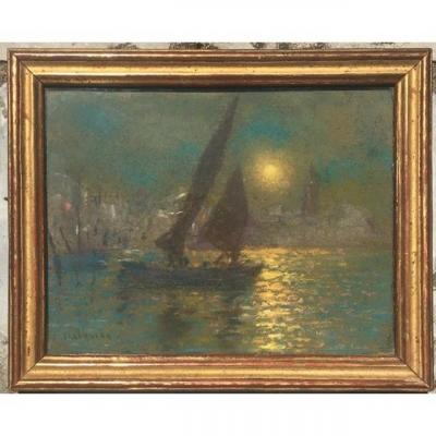 Arsene Chabanian (1864-1949)  Pastel, Boat Sailing In The Moonlight,