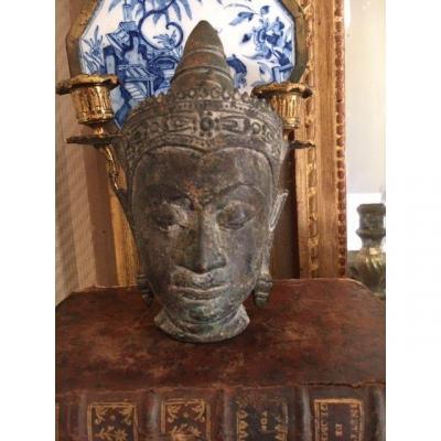 Head Of Buddha, Thailand Or Burma, 19th C. Bronze H 17 Cm