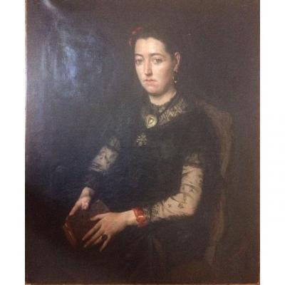 Edouard Hippolyte Margottet, 1848-1887, Portrait 100 Cm X 81 Cm