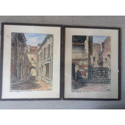 Two Ink Drawings With Highlights Of Watercolor, Fernand Castex, Penne d'Agenais Lot Et Garonne