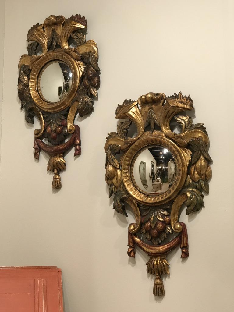 Paire De Miroirs Italiens Polychromes, 19ème