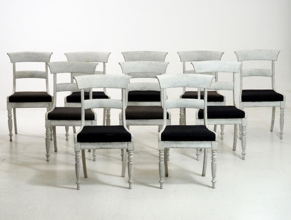 srie de 10 chaises sudoises circa 1840 - Chaises Suedoises