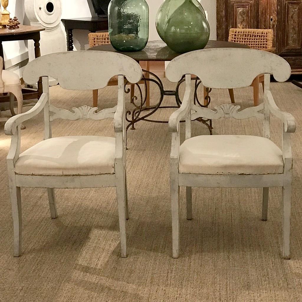 Pair Of Swedish Biedermeier Armchairs, 19th