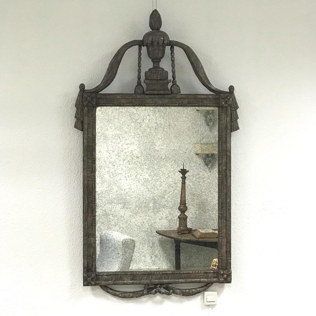 French Louis XVI Silver Mirror, 18th