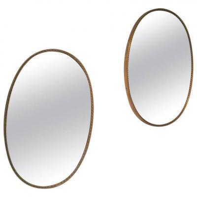 Paire De Miroirs Italiens Vers 1950