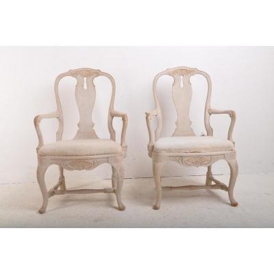 Paire De Fauteuils Suédois De Style Rococo