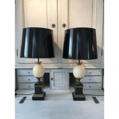 Paire De Lamps Oeuf d'Autruche De La Maison Charles, 1960s