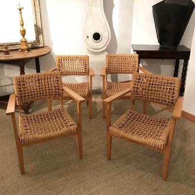 Set Of 4 Armchairs Audoux-minet, 1950s