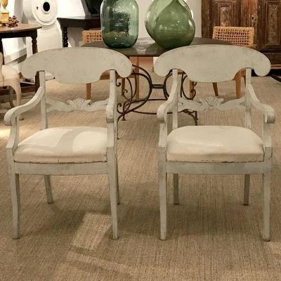 Pair Of Swedish Biedermeier Armchairs, 19th