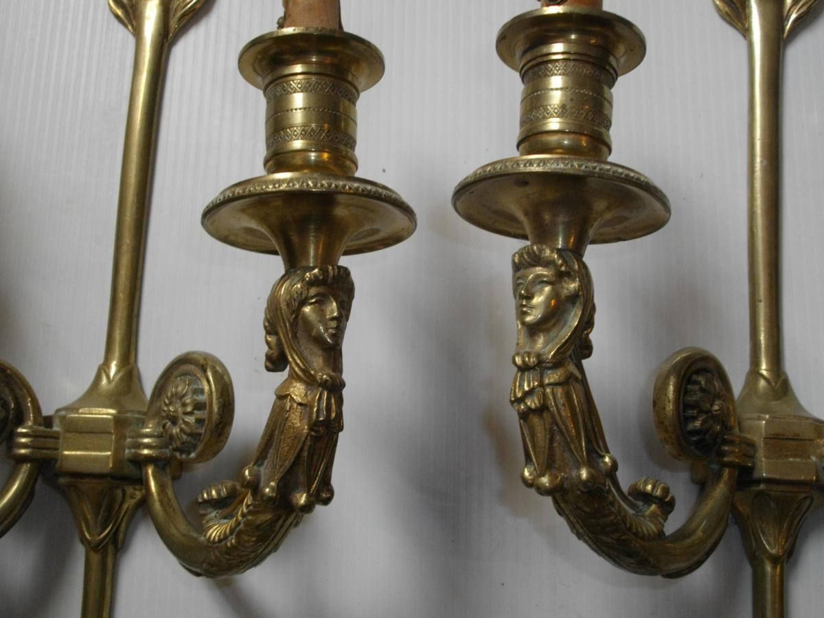 Pair Gilt Bronze Sconces Arrow Decor Fou Du Roi - wall lights