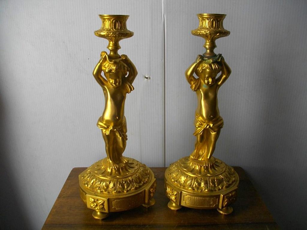 Paire De Bougeoirs En Bronze Doré 19ème