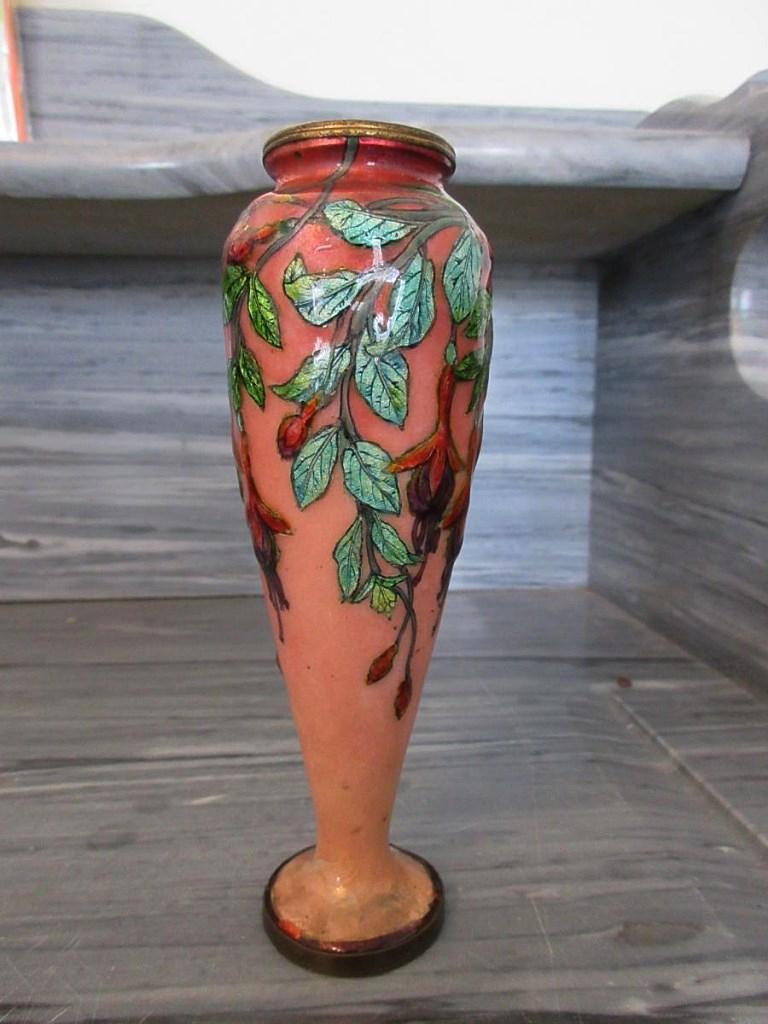 Jules Sarlandie Vase En émail De Limoges décor fushias