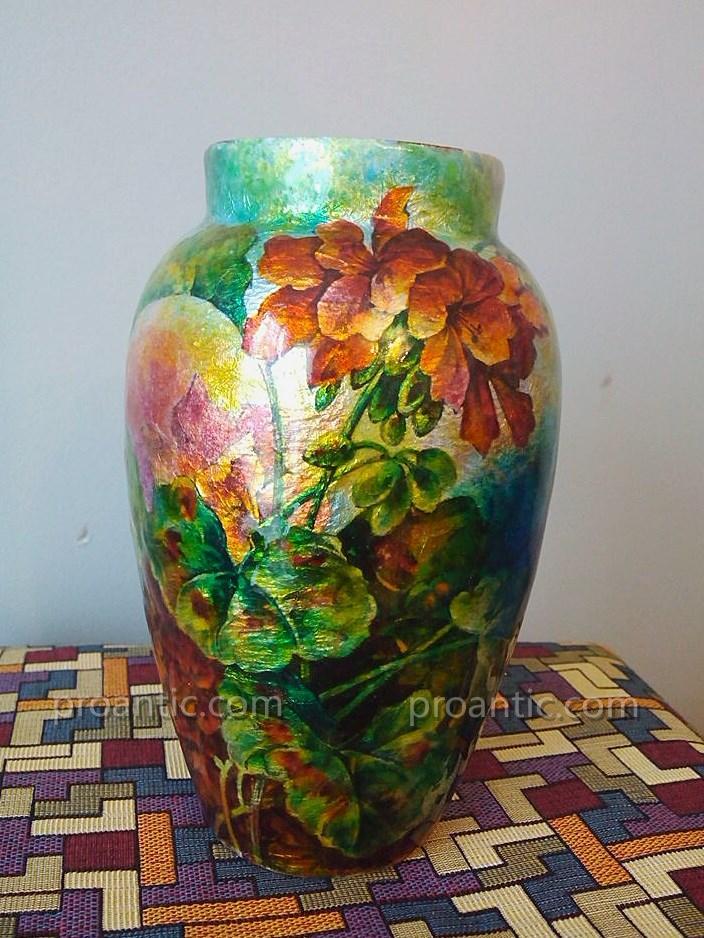 Grand Vase Camille Fauré Décor Floral émail De Limoges
