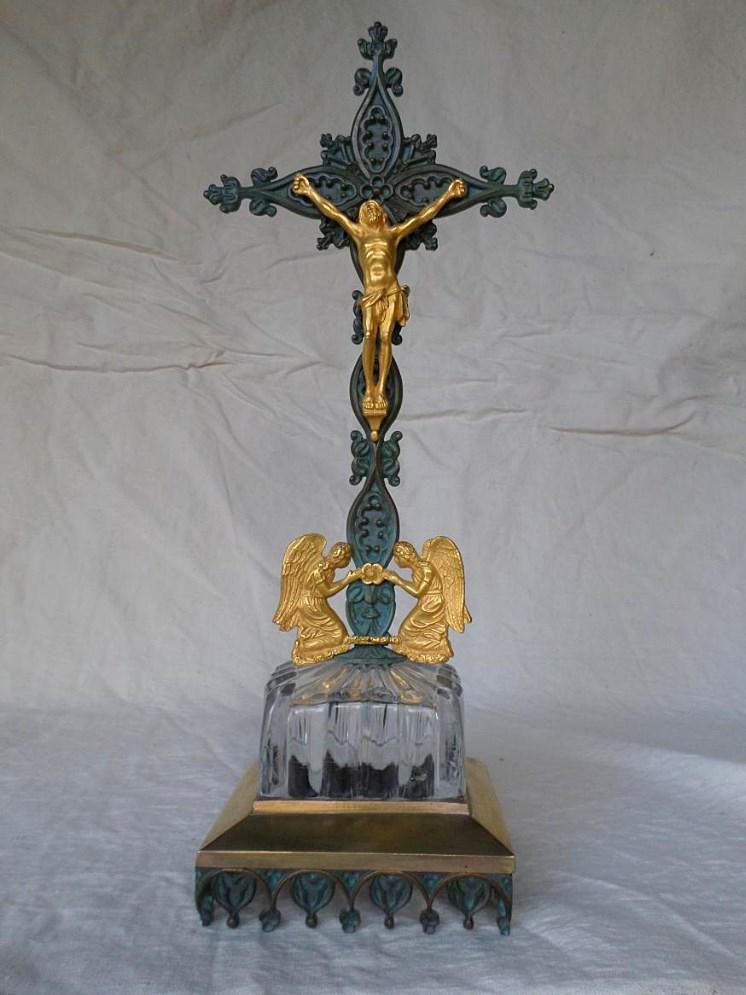 Christ Crusifix Bronze doré Et Cristal XIXème