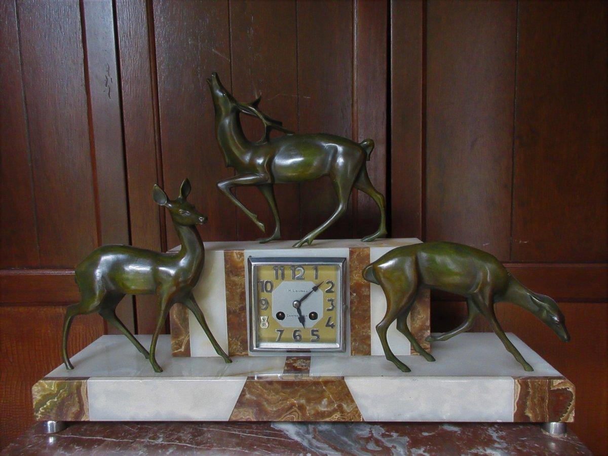 Pendule Bronze Art Deco Michel Decoux