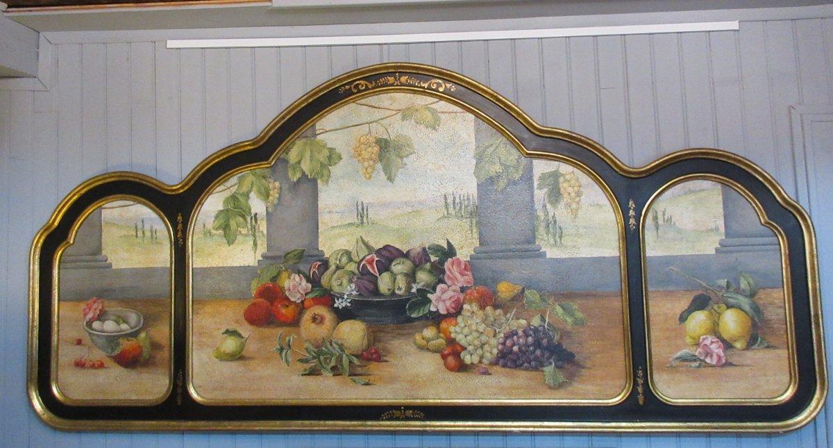 Grand Triptyque Nature Morte Aux Fruits école Italienne