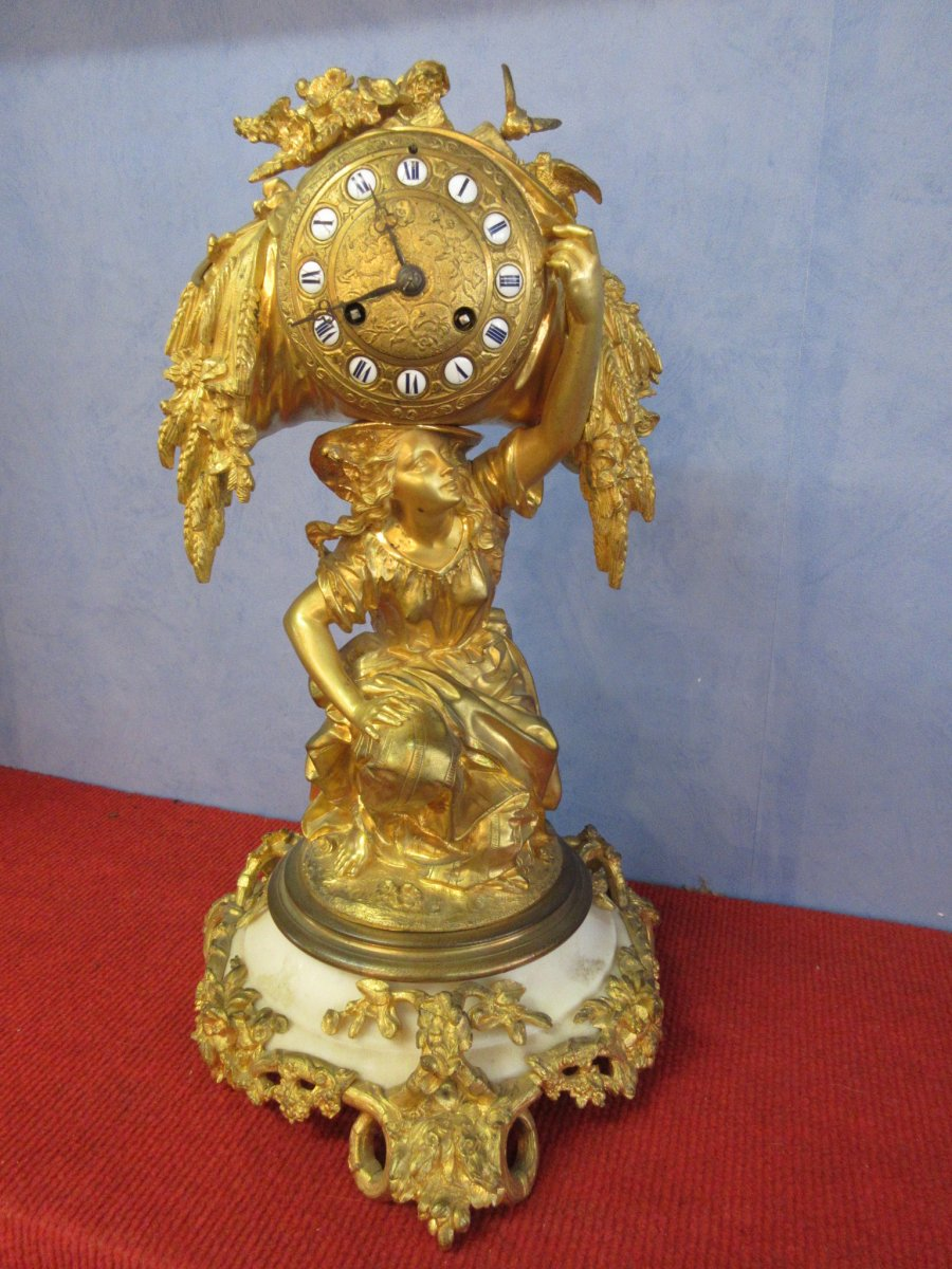Pendule Bronze Doré Estampille Raingo Frères
