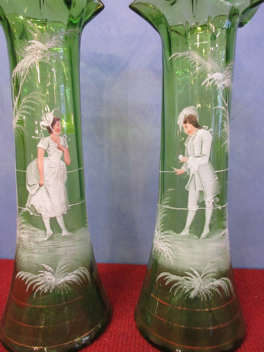 Pair Of Vases Decor Mary Gregory Enameled Relief