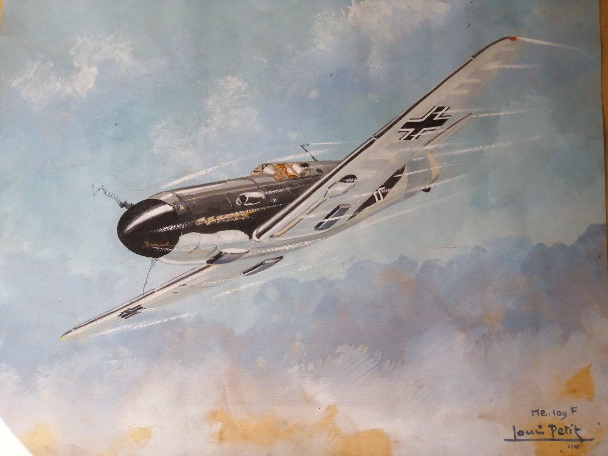 Louis Petit Gouache Sur Papier  Avion militaire ME 109f