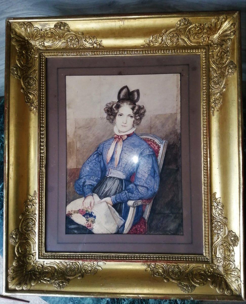 Portrait d'Une Jeune Demoiselle  A La Broderie Cadre Empire A Pamettes