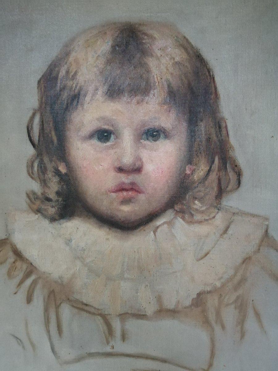 Barbara Mackay  Portrait Jeune Fille Huile Sur Toile