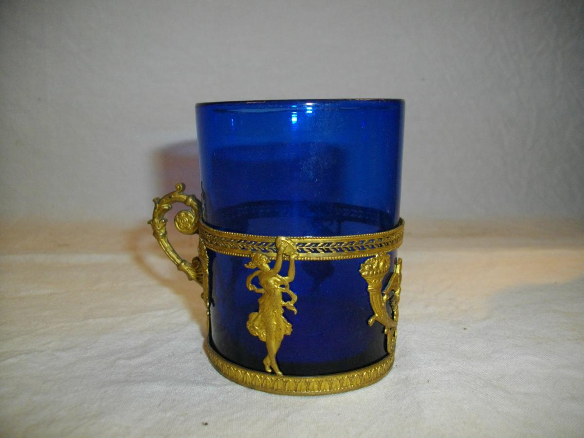 Glass Cup Mount Bronze Empire XIX Eme