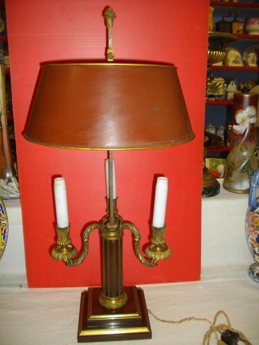 Grande Lampe Bouillotte Acajou Bronze XIX Eme