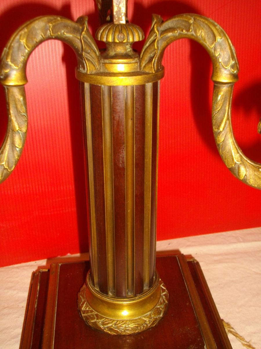 Grande Lampe Bouillotte Acajou Bronze XIX Eme-photo-4