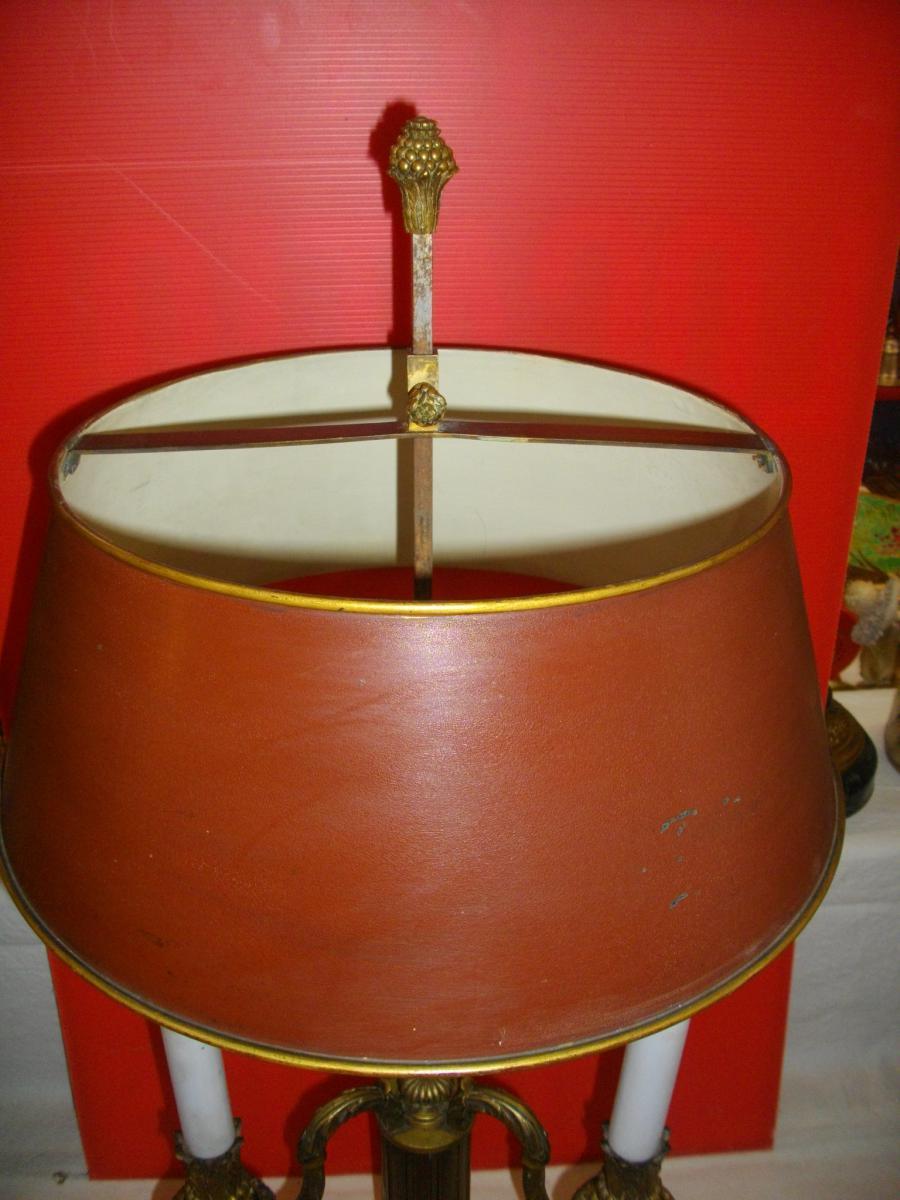 Grande Lampe Bouillotte Acajou Bronze XIX Eme-photo-6