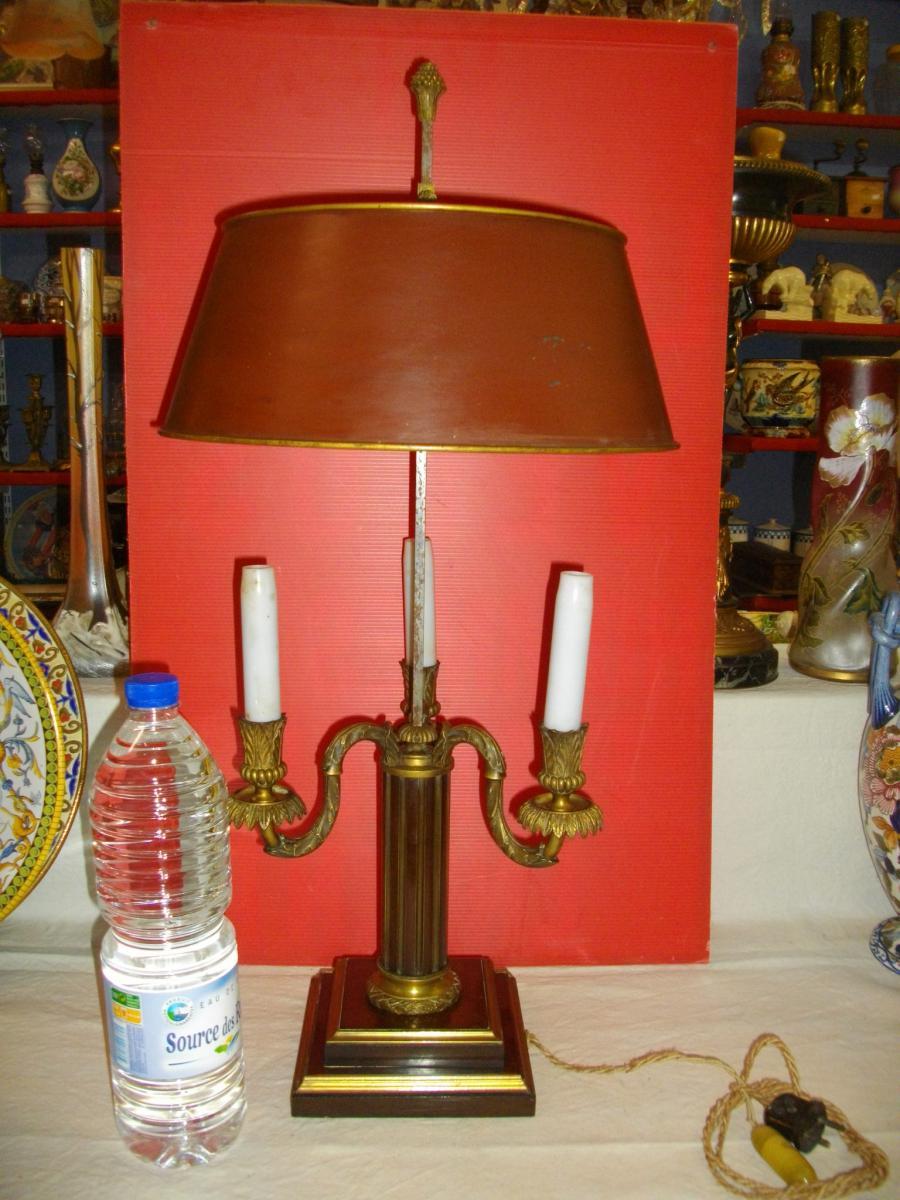 Grande Lampe Bouillotte Acajou Bronze XIX Eme-photo-7