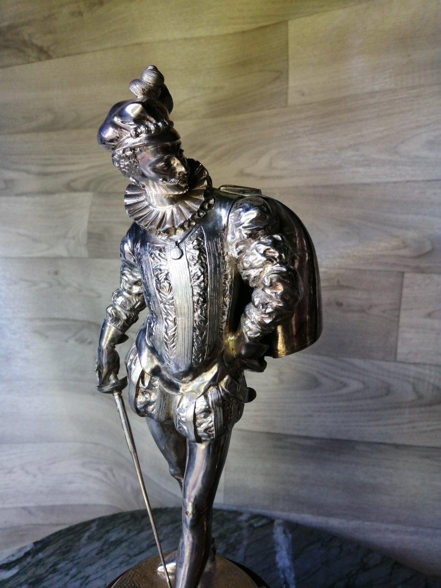 Paire De Bronzes Argentés Escrime Mousquetaire Signé auguste louis Lalouette
