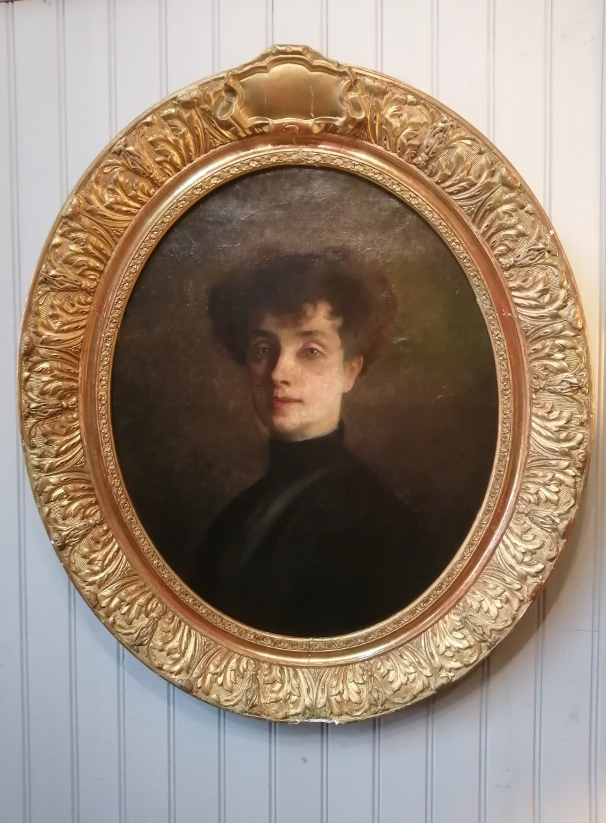 Mary French School Portrait Of Woman Golden Frame With Leaf