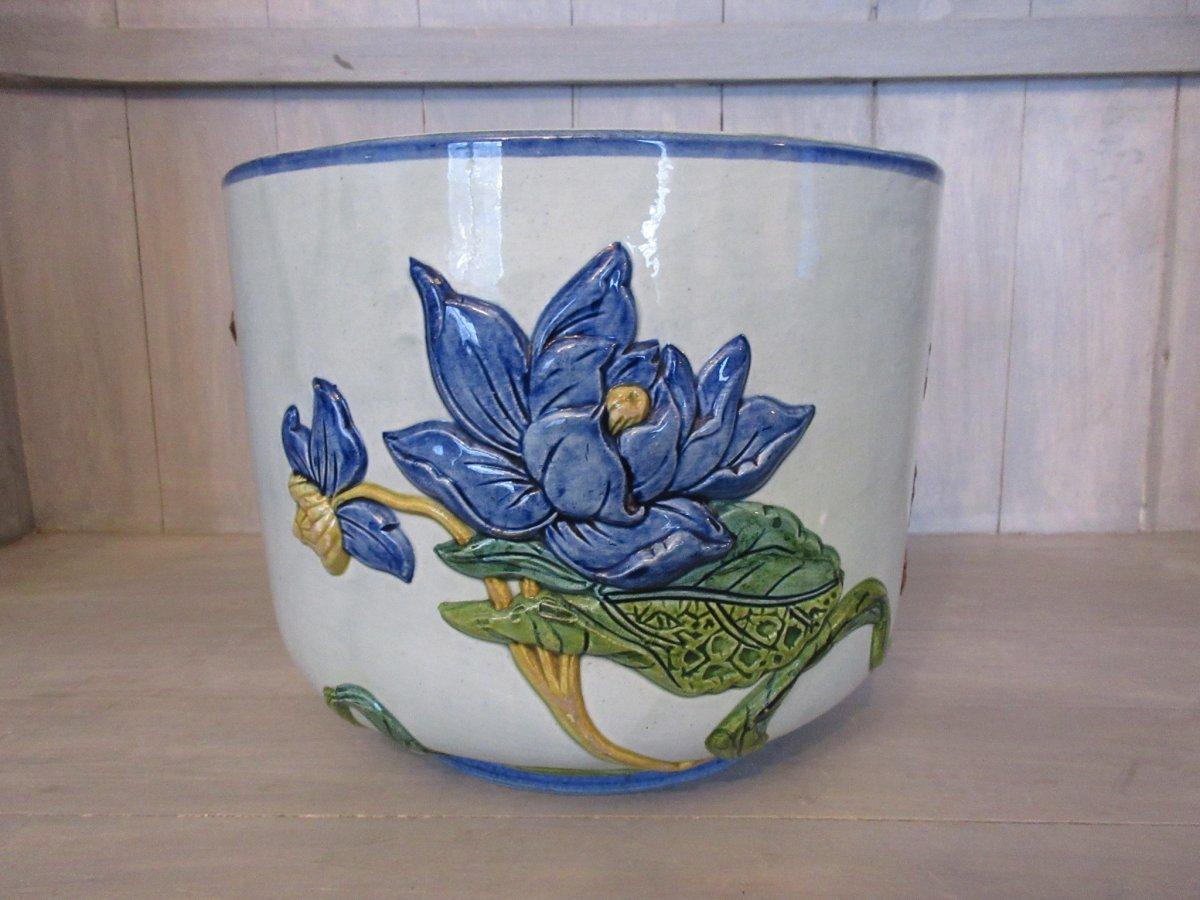 Cache Pot Gien 1852 Geoffroy Asian Decor Lotus Fenghuang