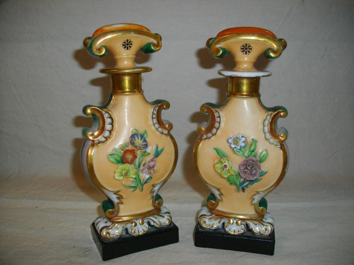 Paire Flacon parfum Porcelaine Paris 19eme
