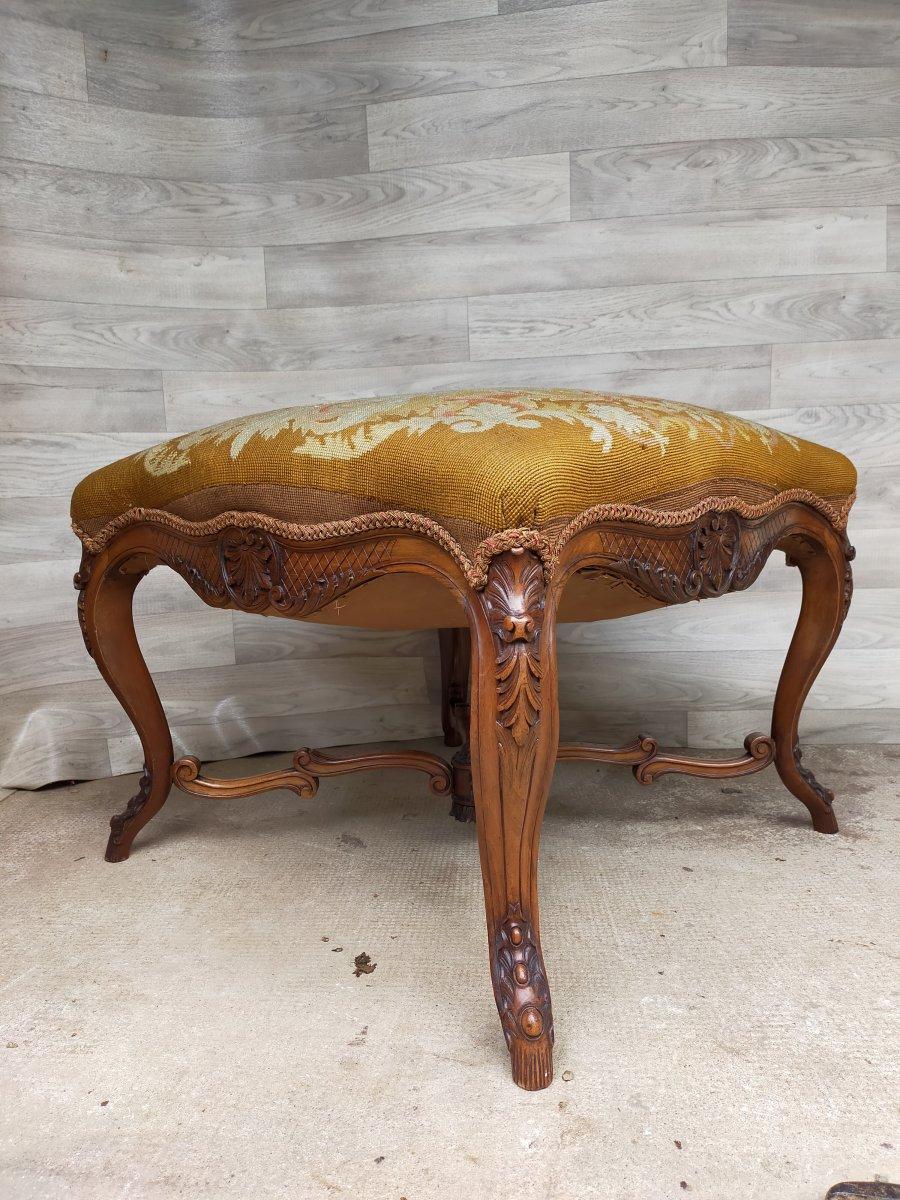 Petite Banquette De Chambre tabouret  Louis XV Noyer