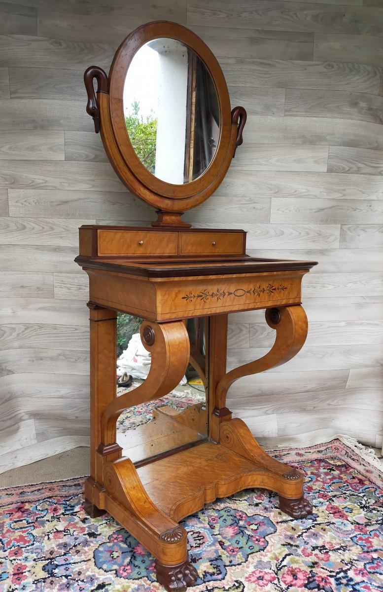 Coiffeuse Charles X Avec écritoire Intérieur Et Miroir Psyché (bureau, Secrétaire ,console)