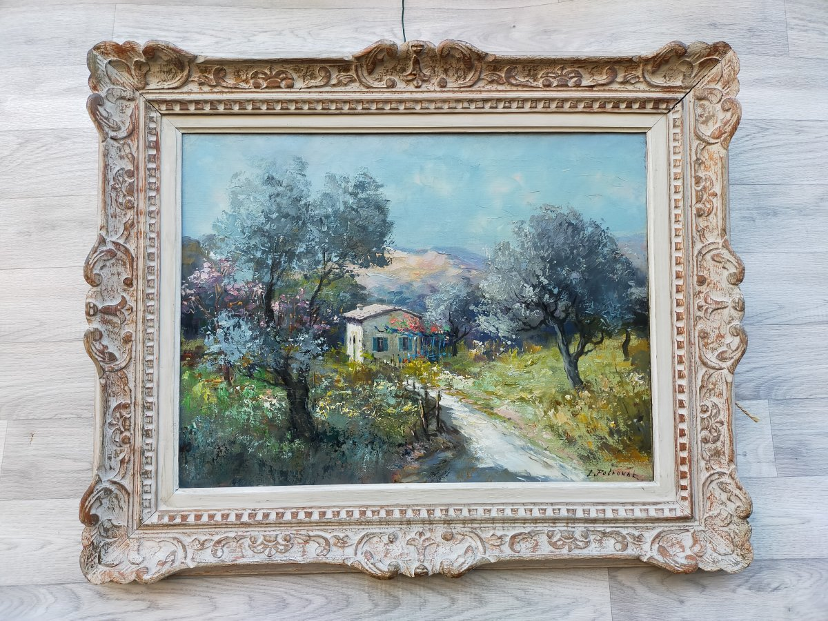 Lucien Potronat Le Mas In Les Baux De Provence Oil On Canvas Cote d'Azur