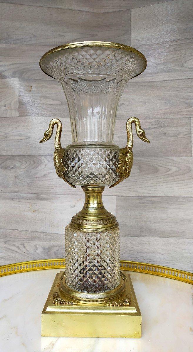Grand Vase Charles X Bronze Et Cristal Décor De Tetes De Cygne (saint louis )-photo-2