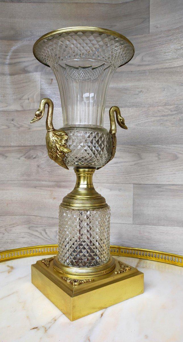 Grand Vase Charles X Bronze Et Cristal Décor De Tetes De Cygne (saint louis )-photo-4