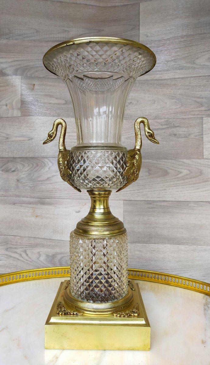 Grand Vase Charles X Bronze Et Cristal Décor De Tetes De Cygne (saint louis )-photo-5