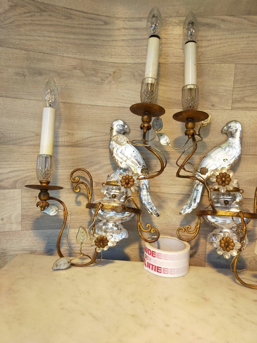 Paire d'Appliques Aux Perroquets Maison Bagues -photo-3