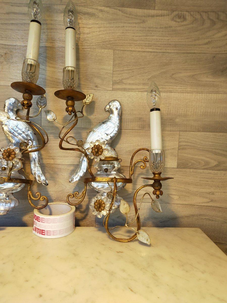 Paire d'Appliques Aux Perroquets Maison Bagues -photo-4